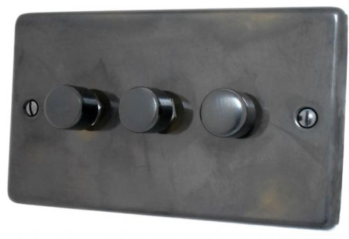 G&H CAN13 Standard Plate Polished Aged Brass 3 Gang 1 or 2 Way 40-400W Dimmer Switch